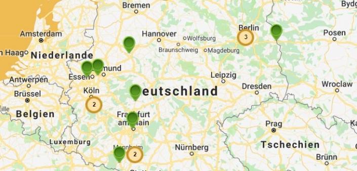 Auf dem Bild ist ein Kartenausschnitt von Deutschland zu sehen.