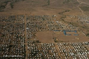 Aerial view shows part of the Kakuma refugee camps in Kenya